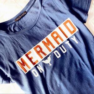 NEW! WILDFOX MERMAID ON DUTY GRAPHIC TEE NAVY BLUE